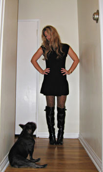 sweater dress+leopard tights+boots+french bulldog - image gratuit #314475