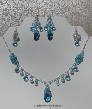 Starlite Jewelry Designs ~ Fashion Jewelry ~ Briolette Necklace ~ Blue Topaz ~ Jewelry Designer - image #314665 gratis