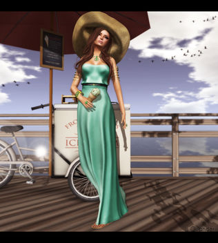 Baiastice_Hina Maxi dress-light emerald for FaMESHed & -Belleza- Ashley Summerfest SK 2 for Summerfest 13 & what next Sandbridge Ice Cream Cart - Red - Free image #315585