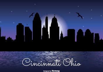 Cincinnati Night Skyline Illustration - Free vector #317475