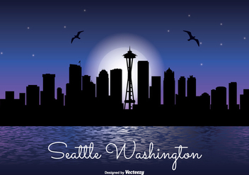 Seattle Night Skyline Illustration - Free vector #317505