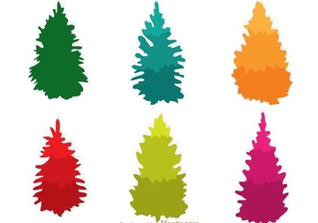 Colorful Cedar Trees icons - Free vector #317585