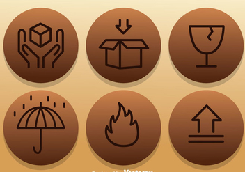 Fragile Icons On Circle Stickers - Free vector #317695