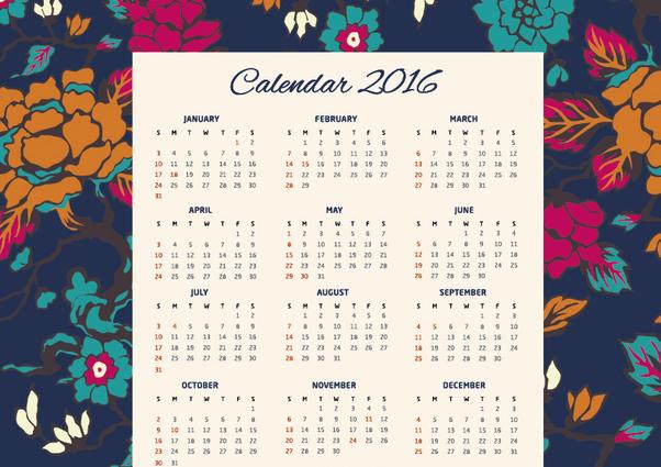 floral kalender 2016 kostenloser vektor download 317735 cannypic. Black Bedroom Furniture Sets. Home Design Ideas