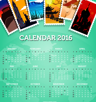 2016 calendar travel destinations - бесплатный vector #317745