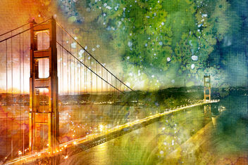 Golden Dawn Bridge - Glowing Watercolor Infusion - Free image #323995
