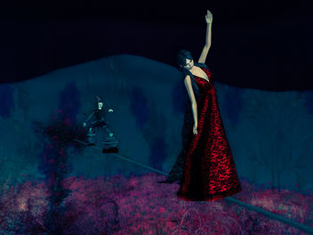 The tightrope walker in elegant red dress - бесплатный image #325775