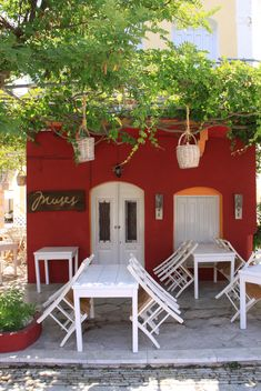 Tables and Chairs of Greek Tavern - бесплатный image #326545