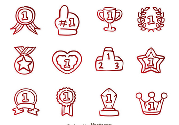 First Place Badge Hand Draw Icons - Free vector #326655