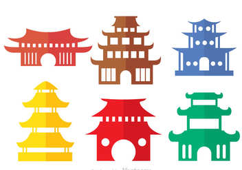 Colorful Chinese Temple Vectors - vector gratuit #326765