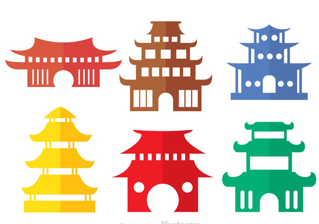 Colorful Chinese Temple Vectors - Free vector #326765