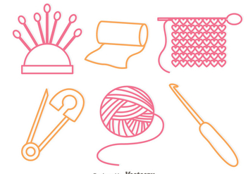 Sewing Outline Icons - vector #326775 gratis