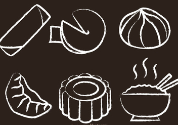 Chinese Food Chalk Drawn Vectors - vector gratuit #326815