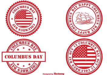 Columbus Day Stamp Set - Free vector #327075