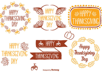 Cute Hand Drawn Thanksgiving Label Set - Kostenloses vector #327365