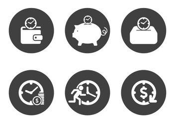 Vector Time is Money Icon Set - vector gratuit #327645