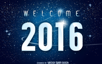 2016 New Year space background - vector gratuit #327715