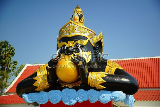Visiting and see people pray for new year 2015 to Rahoo God (Black Goddess Giant once consunme the moon: eclipse) Wat Saman, Chacherngsao, Thailand - Free image #327745