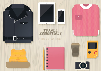 Travel Essentials Vector Illustration - Free vector #327905