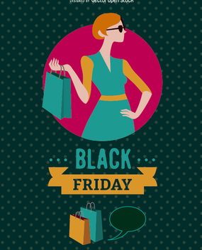 Black Friday woman with shopping bag - vector gratuit #328025