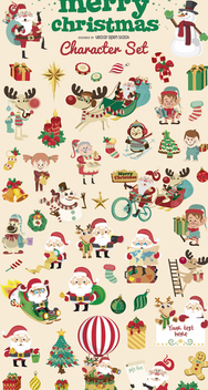 Christmas cartoon character big set - vector gratuit #328035