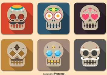 Day of the dead skulls - vector gratuit #328255