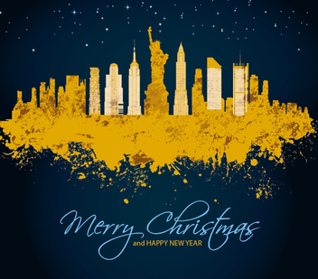 Merry Christmas in Manhattan - Free vector #328365