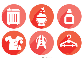 Laundry Long Shadow Icons - Free vector #328765