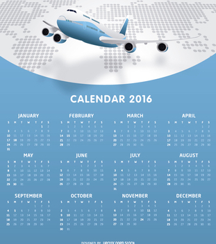 Airlines 2016 calendar tempalte - Free vector #328965