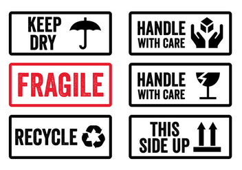 Handle with Care Stickers in Vector - Kostenloses vector #329335
