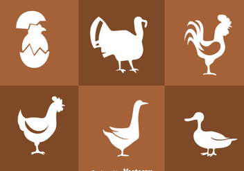 Fowl White Silhouette Icons - Free vector #329395
