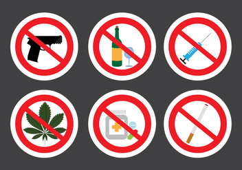 Set of Prohibition Signs in Vector - vector gratuit #329405