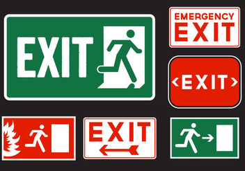 Emergency Exit Signs - vector gratuit #329435