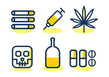 No Drugs Vector Icon Set - Free vector #329475