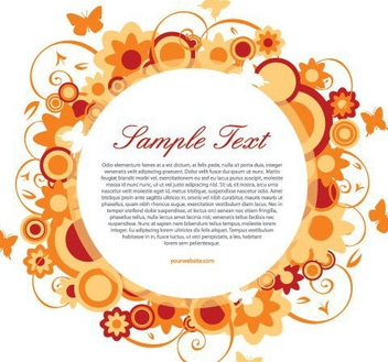 Flowery Decoration White Circle Banner - vector gratuit #329565