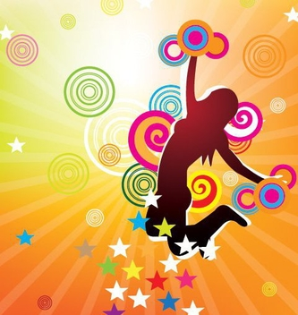 Jumping Girl Colorful Party Poster - vector gratuit #329625