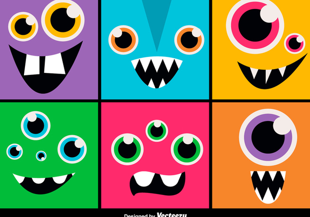 Cartoon monsters expressions - vector gratuit #329755