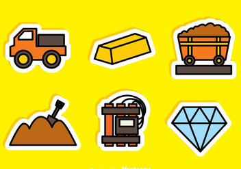 Gold And Diamond Mine Sticker Icons - Free vector #329765