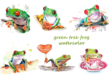 Green tree frog watercolor - Free vector #330025