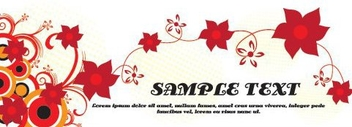Red Swirling Flowery Banner - vector gratuit #330195