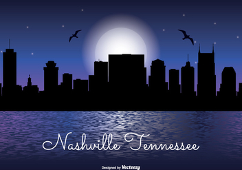 Nashville Tennessee Night Skyline - vector gratuit #330485