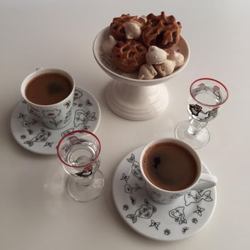 coffee in two cups with coockies - image gratuit #330655