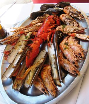 Shrimps and lobster on a plate - image gratuit #330675