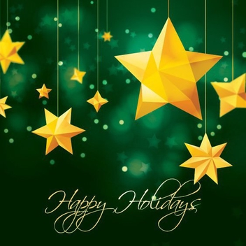 Orange Stars Green Xmas Background - Free vector #330805