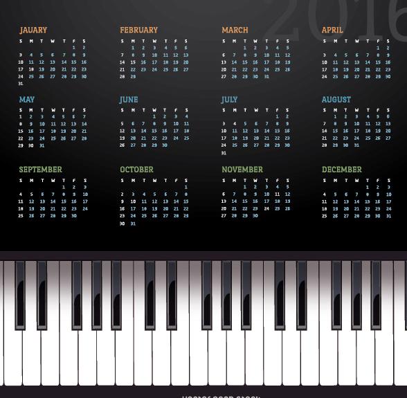 musik klavier kalender 2016 kostenloser vektor download 330815 cannypic. Black Bedroom Furniture Sets. Home Design Ideas