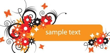 Floral Swirls Orange Banner - vector gratuit #332425