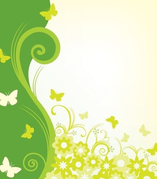 Green Wavy Swirls Background - Free vector #332475
