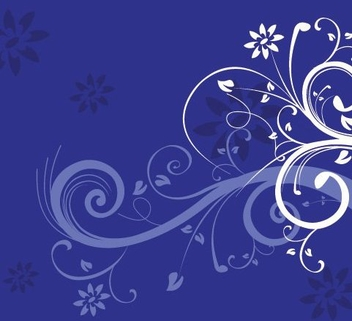 White Swirls Blue Background - vector gratuit #332505