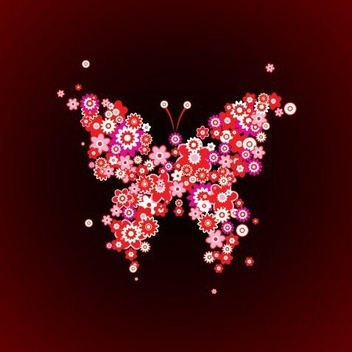 Butterfly Shaped Colorful Flowers - vector gratuit #332515