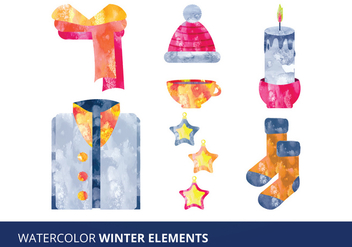 Watercolor Elements Vector Illustration - Free vector #332575